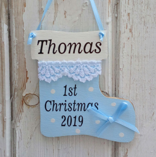 Baby's 1st Christmas Stocking Tree Decoration